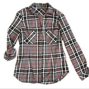 NEW Stitchfix Market & Spruce Gray Plaid Flannel M